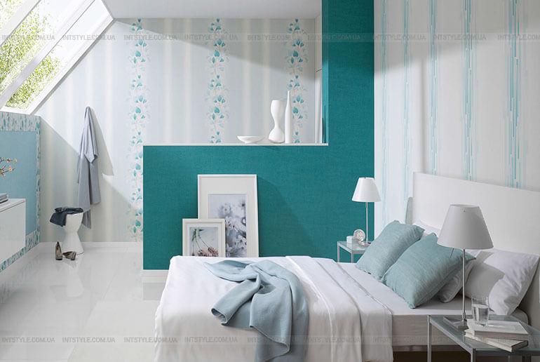 Бирюзовый цвет в интерьере. Спальня в бирюзовом цвете.