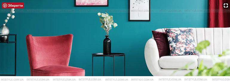 Бирюзовый цвет в интерьере. Пестрое сочетание ярких цветов