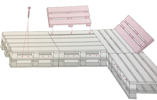 диван из поддонов паллет схема чертеж как крепить конструкция